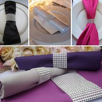 Wholesale Hot Sale Silver quot Rows Bow Covers With Velcro Closure Napkin Ring Diamond Rhinestone Wedding Chair Sashes Bows Holder