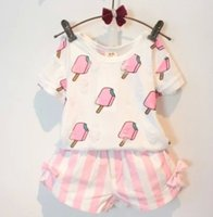 lollies - Kid Girls Set Suit Short Sleeve Bore Ice lolly Printed Tops Striped Bowknot Short Pants Fashion Soft Casual N1625