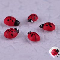 Wholesale Wood Lady Bugs Insects Beatle DIY Garden Animal Miniatures Flower Decoration
