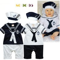 Wholesale spring autumn navy babies rompers short sleeve infant child baby one piece romper with hats Newborn baby handsome outfits kids clothing set