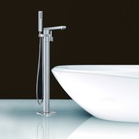 Wholesale Floor Mounted Free Standing Bath Filler Mixer Tap With Hand Shower Polished Chrome Brass WONDLOV W51001