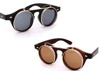 plastic vintage fashion sunglasses - Retro Vintage Unisex s Steampunk Glasses Flip Up Round Cyber Sunglasses Goggles GX14