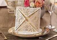 Wholesale Hot Sale Laser Cut Wedding Invitations Gold Free Printing Wedding Invitation Card Flowers Hollow Wedding Cards