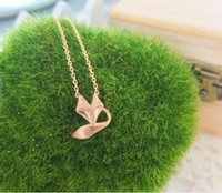 animal jewelry - 2015 Small Animals Jewelry Cute Fox Pendant Women Lariat Necklace In Gold Silver Rose Gold N009