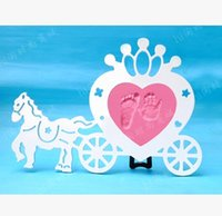 wooden horse - Wooden Horse Shape Grown Frames Baby Hand and Foot Prints Inkpad Infant Baby Photo Frame marcos para fotos porta retrato DB