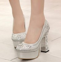 silver wedding shoes - New silver rhinestone heels diamond shoes Glitter wedding shoes for bridal shoes crystal shoes colors Size to