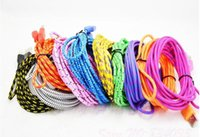 Wholesale 1M ft Macro USB Fabric Braid Data Sync Charging Cord Wave Charger Cable for Samsung Galaxy S6 Note Note S4 S3 Nokia HTC Sony