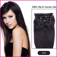 Wholesale 7A inch Clip in Human Hair Extension Brazilian Human Hair set g Human Hair Clip in Extensions Color B