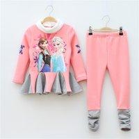 Wholesale Winter Frozen Girl Clothing Set Thicken Add Wool Dress Pants Children Suit High Quality Cotton Anna Elsa Kids Suits WD318
