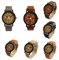 wooden hook - New Fashion Simulation Wooden Quartz Men Watches Casual Wooden Color Leather Strap Watch Wood Male Wristwatches