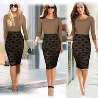 Wholesale women Formal work Office Dresses Long Sleeves New Elegant Bodycon Knee Length Pencil Party plus size Ladies DHL freeshipping