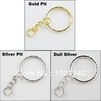 Wholesale Split Key Rings mm With Chain Gold Silver Dull Silver Plated