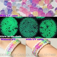 Cheap Glow in the dark UV color changeable Bead for loom bands pendent hanger DIY UV color changeable Beads 7 color DHL Free shipping
