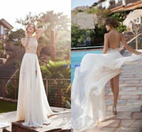 flower beads - 2015 Beach Wedding Dresses Halter Appliques Sweep Train Split Side Sashes Beads Wedding Gowns Cheap Chiffon Backless Wedding Bridal Dress
