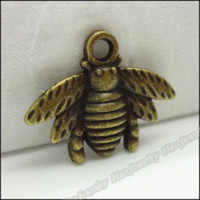 bee coin - 80pcs Vintage Charms Bee Pendant Antique bronze Fit Bracelets Necklace DIY Metal Jewelry Making