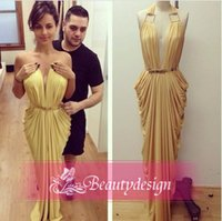 Wholesale Flow chiffon ruffles formal evening dresses halter backless sexy cheap shath prom gowns custom made newest floor length party dress WT01