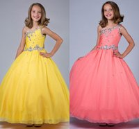Cheap One Shoulder Little Rosie Pageant Dresses For Girls 2015 Glitz Spaghetti Crystal Organza Ball Gown Girls Pageant Dresses Floor Length