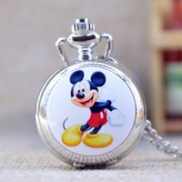 antique round mirror - New Fashion Silver Elegent Lovely Mickey Mouse with Mirror Case Quartz Pocket Watch Analog Pendant Necklace Mens Womens Gifts P363