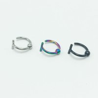 Wholesale 120pcs fashion fake nose ring non piercing stainless steel anti allergic silver black rainbow for men women new