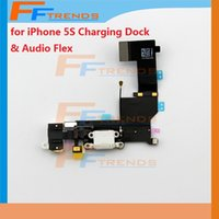 Wholesale Original Headphone Audio Charger Charging Data USB Dock Port Flex Cable For iPhone S Black White