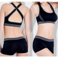 athletic fitness training - Women Gym Yoga Bras Shorts Fitness Set Training Wireless Top Running Cycling Shorts Athletic Underwear TrainSuits S112