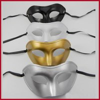 white masquerade masks - Factory direct sale masquerade masks half face mask flat head man Gold and silver white and black four color optional