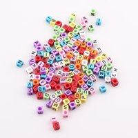 Cheap Fashion 6mm Mixed Colorful Acrylic Letter Alphabet Square Beads For DIY Loom Bands Jewelry Bracelets JJAL BE315