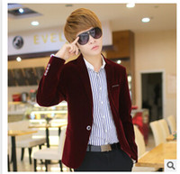 Wholesale Mens blazer slim fit suit jacket black navy blue velvet new arrival spring autumn outwear coat Suits For Men