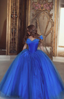Wholesale New Charming Royal Blue Princess Cinderella Ball Gown Wedding Dresses Off Shoulder Tulle Beading Bridal Dress