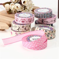 Wholesale Lovely Fabric Tape - Top Selling Fashion Design Lovely Cartoon Fabric Satin Craft Tape Sticky Adhesive Decorative Ribbon Trim Decor