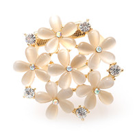 Cheap MYQ Scarf Ring Mother's Day Gift Opal Flower Scarf Ring Scarf Pin Brooch Crystal Opal Brooch Pin free shipping