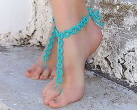 Wholesale New fashion summer hot sale European and American style foot jewelry cotton handmade crocheted sandals anklet