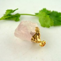 Wholesale 8pcs Gold Plated Druzy Quartz Crystal Charms Pendant Stone Bead Jewelry Finding