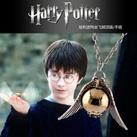 potter - New Harry Potter Hogwarts Quidditch Silver Wings Snitch Gold Necklace Pendant Golden Snitch Necklace Golden