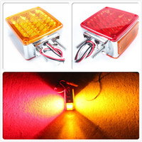 Wholesale 2pc Amber Red LED Double Face Stud Mount Pedestal Fender Stop Turn Tail Light