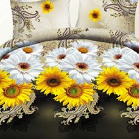 Cheap Wholesale-Home Textiles Good Quality! 3d Sunflower Flowers Bedding Set 4pcs Twin King Size Bed Linens Cartoon Family Bed Set Free SHIPPING