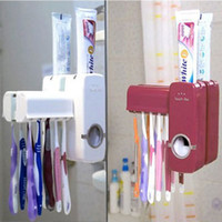Wholesale Brand New Toothbrush Holder Automatic toothpaste squeezer Set Suction Stand Rack Bathroom Accessory Wall Mount Holder