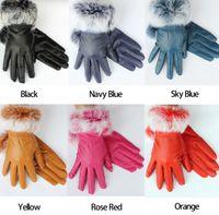 Wholesale On Sale Women Winter Real Sheep Leather Gloves Lambskin Rabbit Fur Warm Gloves
