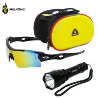 """Cheap WOLFBIKE Bike Bicycle Cycling Q5 500LM 7W Zoomable Torch Light +4.2"""" Front Frame Tube Pannier Phone Bag+UV 400 Polarized Glasses"""