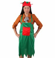 apron manufacturers - The new European and American manufacturers of promotional Christmas decorations green knitted fabric cover Elf hat Elf aprons