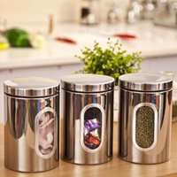 Wholesale V1NF Stainless Steel Window Canister Tea Coffee Sugar Jar Food Storage Box Bottles Case Silver