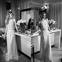 halter top wedding dress - Lihi Hod New Arrival Wedding Dresses Halter High Neck Beaded Top Lace Chiffon Floor Length Bridal Gowns