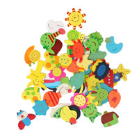 Wholesale Children Various Shapes and Colors Cartoon Wooden Refrigerator Magnets on Promotion