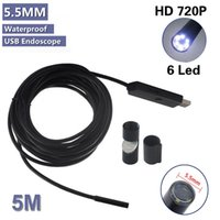 Wholesale 6 LED mm Dia Waterproof USB Endoscope M Borescope Inspection Wire Camera With Mini Camera Mirror Hook Magnet