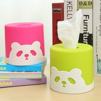 Wholesale pieces Fashion Panda Pattern Deraction Tissue Pumping Desktop Cylindrical Tissue Box Pumping Tray Colorful Fashion Paper Box