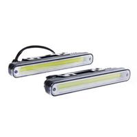 auto led lights wholesale - 2pcs Waterproof W K K COB LED Lights DRL Daytime Running Light Auto Lamp For Universal Car
