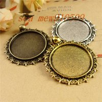Wholesale pieces MM round cabochon antique bronze silver gold plated vintage style alloy stars pendant tray settings hm660