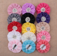 Wholesale fashion Chiffon Pearl flower baby headband Alligator Hair Clips for Girls Headwear Kids Hair Accessories colors