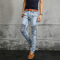 Men acid wash pants - Balmain men jeans NWT Paris Men s Fashion Runway Biker Slim Stretch Acid Light Blue Distressed Washed Jeans Size28