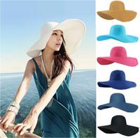 Mujeres grande ancho Floppy Brim Beach Sun Beach paja verano Derby del casquillo del sombrero de moda Casual Fedora Cap con cinta de colores empacables Sombreros flexibles